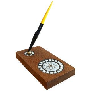 Martz Ceramic and Wood Pen Holder With Parker Pen For Sale