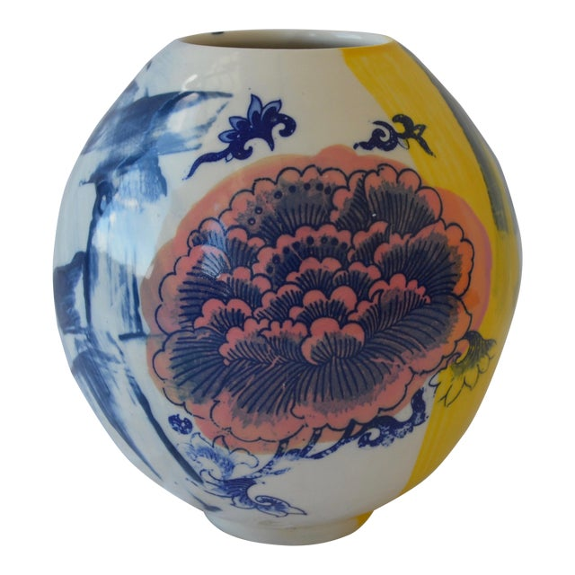 Contemporary Ceramic Chrysanthemum Moon Vessel For Sale