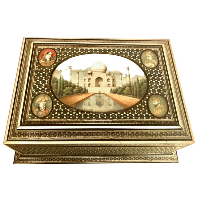 This is an Indian box with the Taj Mahal artwork on bone. This fabulous box is quite large and in very good condition....