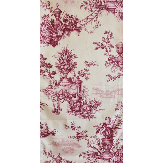 "Early 21st Century Custom French Floral & Urn Toile Table Runner 110"" Long For Sale - Image 5 of 8"