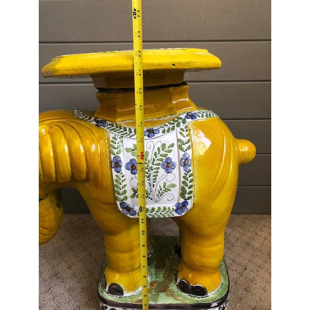 1970s Hollywood Regency Yellow Ceramic Elephant Garden Stool For Sale - Image 10 of 12
