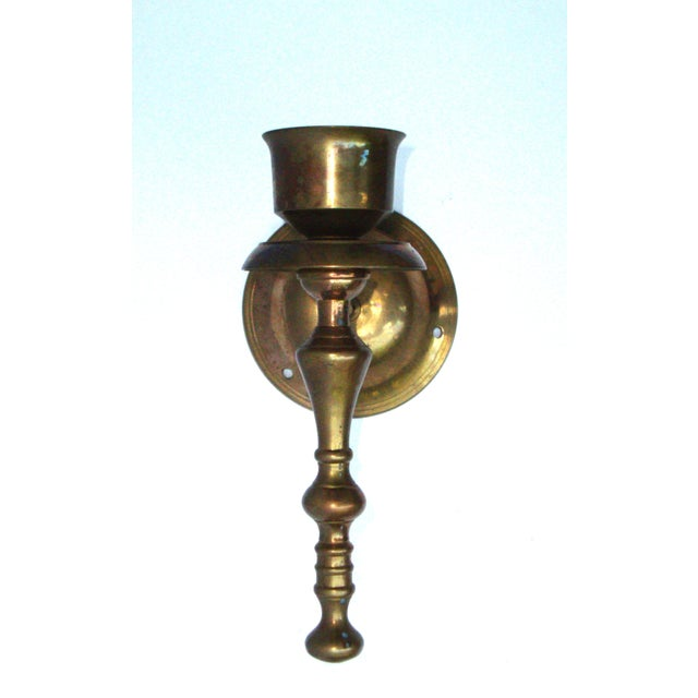 Victorian Gothic Regency Deco Brass Candle Sconces - Image 5 of 11