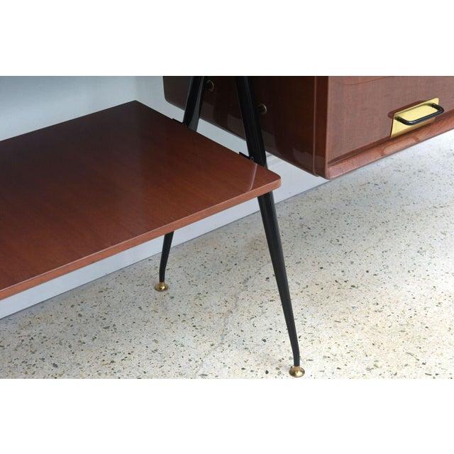 Italian Modern Mahogany and Brass Bar Cabinet or Bookcase, Silvio Cavatorta For Sale In Miami - Image 6 of 10