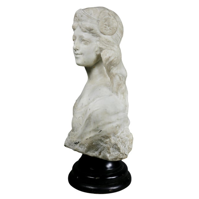French Art Nouveau White Marble Bust of a Woman For Sale - Image 9 of 11
