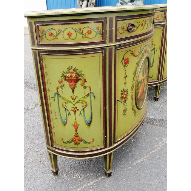Green Adams Style Paint Decorated Commodes - A Pair For Sale - Image 8 of 9