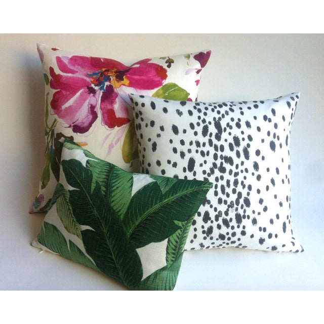 Les Touches Style Linen Charcoal Dotted Pillow/Cushion Cover - Image 3 of 5