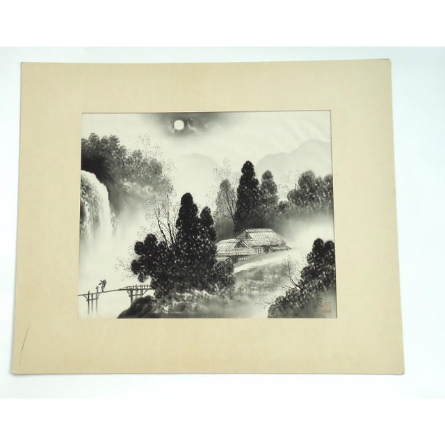 Vintage Japanese Night Landscape Painting on Silk For Sale - Image 4 of 4