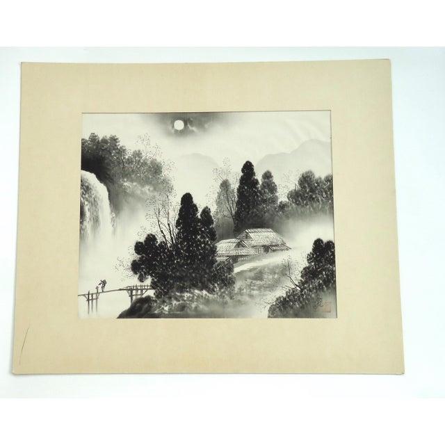 Vintage Japanese Night Landscape Painting on Silk - Image 4 of 4