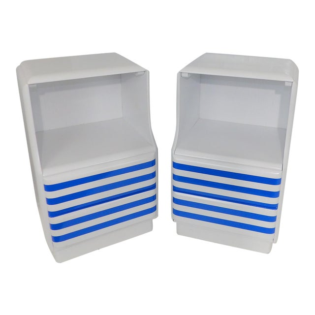 Mid-Century Modern White & Blue Striped Nightstands - A Pair For Sale