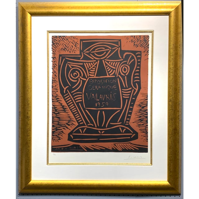 "1950s Vintage Pablo Picasso Original Linoleum Cut ""Exposition Ceramique Vallauris, 1959"" Signed Print For Sale - Image 10 of 10"