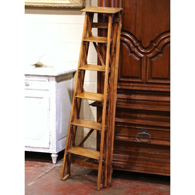 19th Century French Napoleon III Carved Walnut Folding Library Six-Step Ladder For Sale - Image 9 of 11