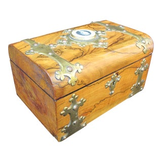 19th Century Antique Coromandel Ebony & Wedgwood Basaltware Sewing Box For Sale
