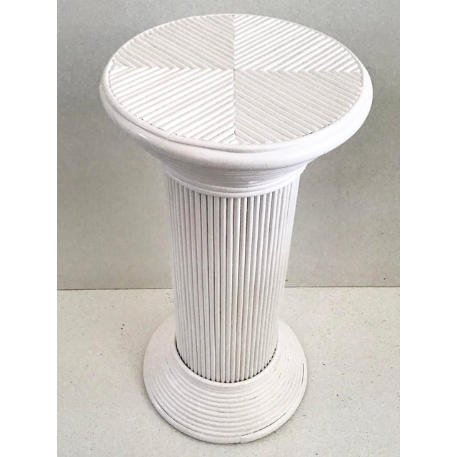 Pencil Reed Rattan Cocktail Table in White Lacquer For Sale - Image 4 of 9