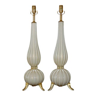 Murano Glass Footed Lamps White & Gold For Sale
