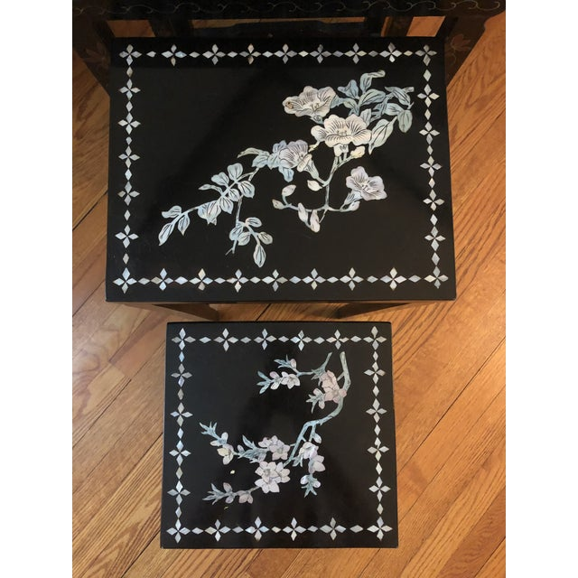 Mid 20th Century Mid Century Asian Black Lacquer Nesting Tables - Set of 4 For Sale - Image 5 of 13