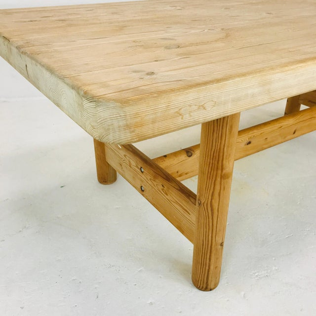 Substantial Solid Scandinavian Pine Butcher Block Dining Table For Sale - Image 9 of 13