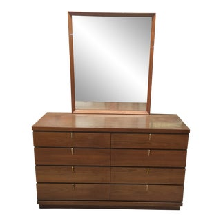1960s Mid-Century Modern Johnson Carper Dresser With Mirror For Sale