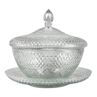 Anglo Irish Cut-Glass Covered Tureen and Underplate For Sale