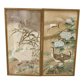 20th Century Japanese Panels on Silk Screen