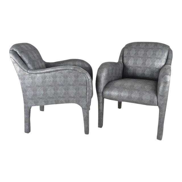 Pair of 1980s Armchairs in Metallic Faux Shagreen For Sale