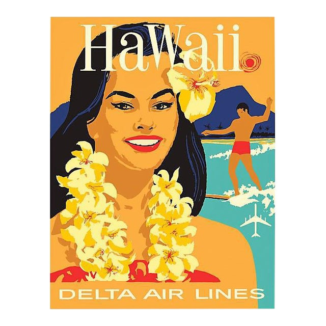 Matted and Framed Vintage Hawaii Travel Poster - Image 1 of 4