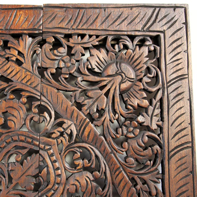 "Asian Dark Wax Carved Square Panel 48"" For Sale - Image 3 of 3"