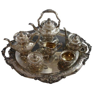 Francis I Reed & Barton Sterling Silver Six-Piece Tea Set With Tray Sku#2118. For Sale