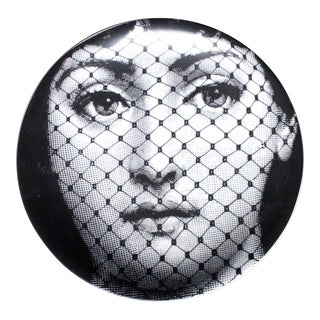 Piero Fornasetti Tema E Variazioni Porcelain Plate, Themes and Variations, Number 78, the Iconic Image of Lina Cavalieri. 1960s.
