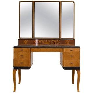 "1935 Art Deco Carl Malmsten ""Haga"" Vanity-Makeup Table For Sale"