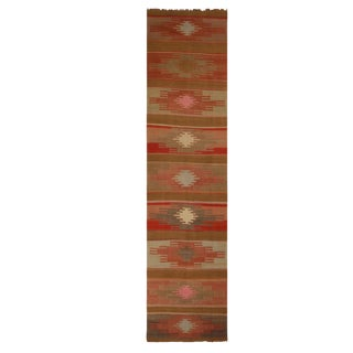 "Vintage Sivas Red and Brown Wool Kilim Rug-5'7'x12'6"" For Sale"