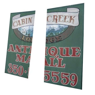 Cabin Creek Antiques Hand-Painted Billboard For Sale