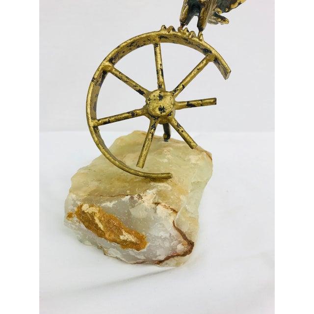 Brass Brass Eagle on Wheel Quartz Statuette For Sale - Image 7 of 12