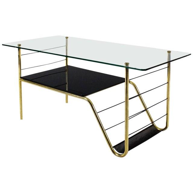 1960s Coffee Table by Pierre Guariche, Brass, Bronze, Opaline, Glass - France For Sale