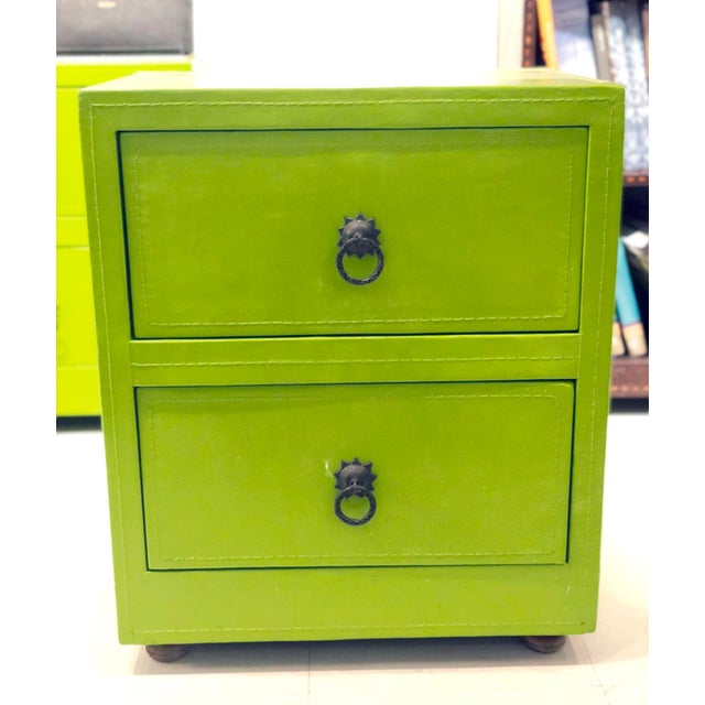 Green Leather Chest of Drawers For Sale - Image 4 of 5