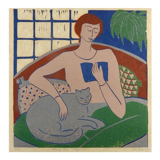 """1970s """"Rainy Day Lap Cat"""" Serigraph For Sale"""
