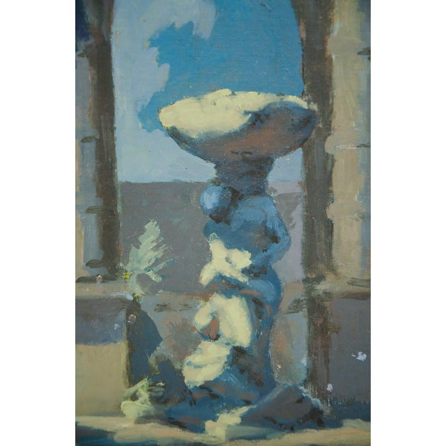 Modern Late 19th Century Antique Classical Courtyard Signed Oil on Cardboard Painting For Sale - Image 3 of 8