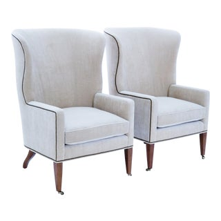 Baker Furniture Modern Wingback Accent Chairs - A Pair For Sale