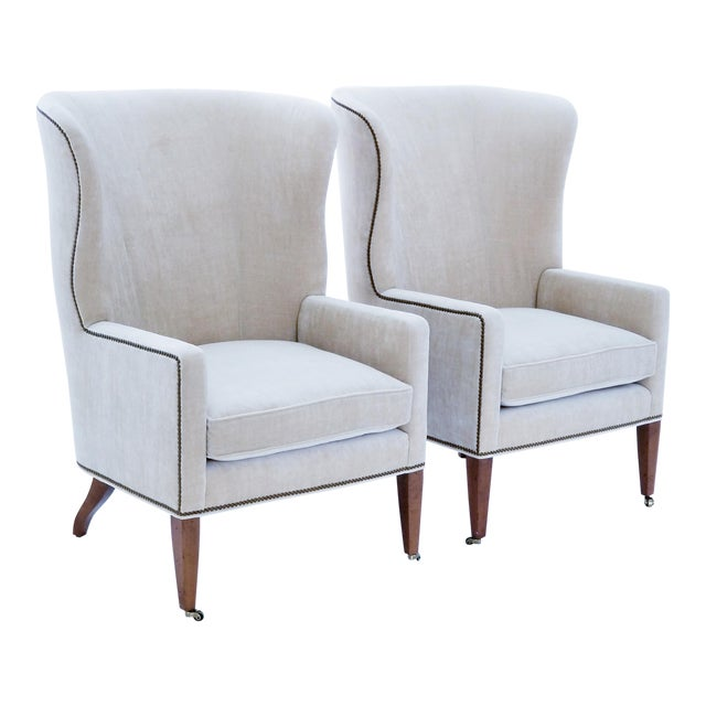 Accent Chairs Sold In Pairs.Baker Furniture Modern Wingback Accent Chairs A Pair