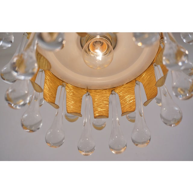 Metal Ernst Palme Pendants for Palwa Gilt Brass & Crystal, 1960's, German - a Pair For Sale - Image 7 of 13