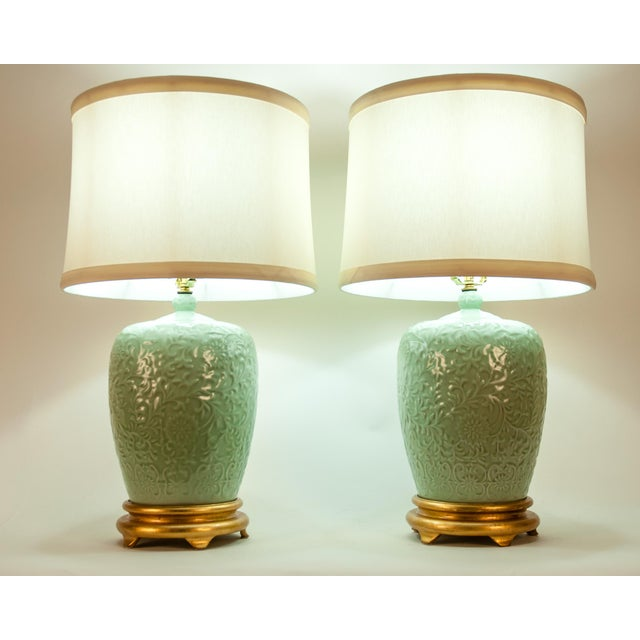 Mid Century Porcelain Lamp / Gilded Wooden Base - a Pair For Sale - Image 11 of 13