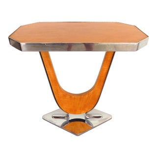 Art Deco Satinwood & Chrome Side Table