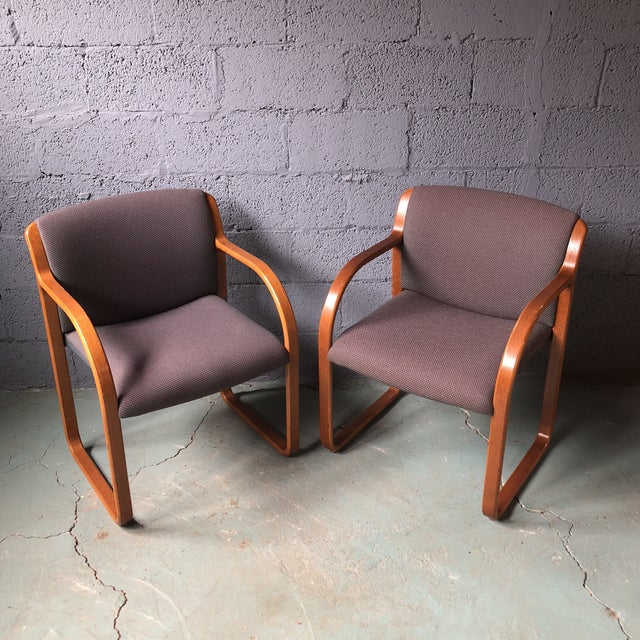 Contemporary Steelcase Bentwood Upholstered Chairs - a Pair For Sale - Image 13 of 13
