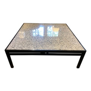 Postmodern Large Oak and Granite Coffee Table For Sale