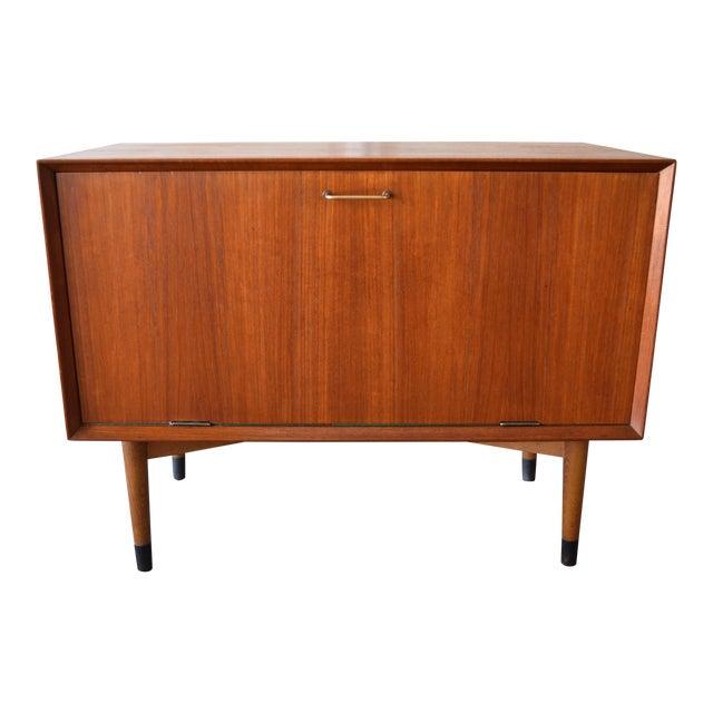Vintage Danish Mid-Century Modern Teak Record Cabinet For Sale