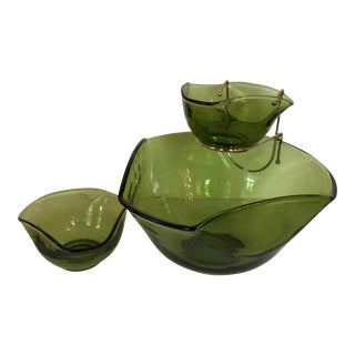 70's Retro Green Glass Chip Bowl and Matching Green Glass Dip Bowls - Set of 3