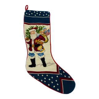 1980s Wool Needlepoint Stocking With Santa Motif For Sale