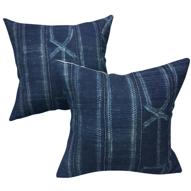 African Indigo Pillows - A Pair - Image 1 of 6