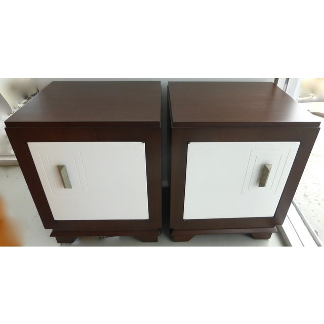 Art Deco Mid-Century Art Deco Style Nightstands - Pair For Sale - Image 3 of 9
