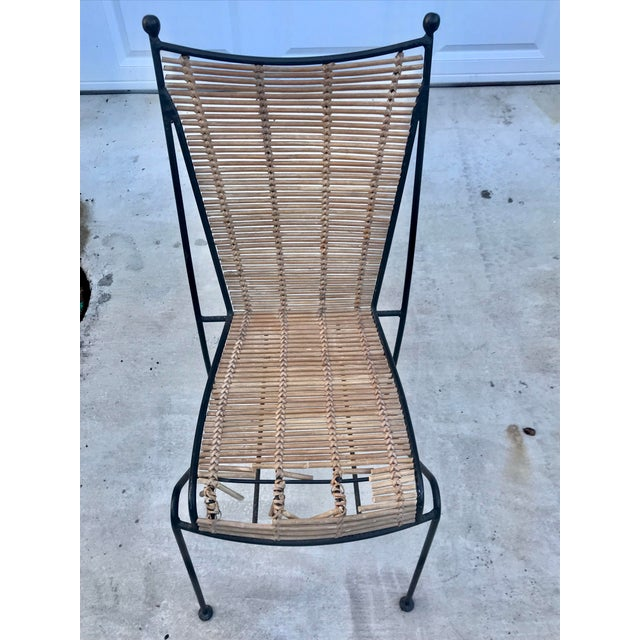 Boho Chic Set of 6 Mid-Century Ficks Reed Bamboo and Metal Chairs For Sale - Image 3 of 13
