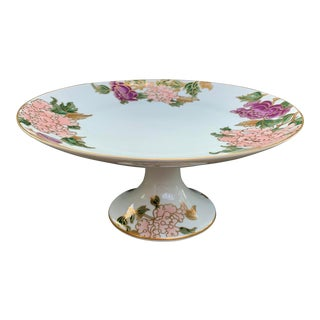 Vintage Fitz and Floyd 'Cloisonné Peony' Porcelain Cake Stand For Sale